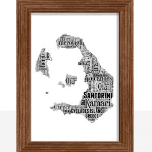 Personalised Santorini Word Art Map