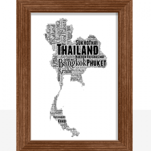 Personalised Thailand Word Art Map
