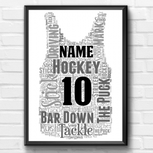 Hockey – Basketball Vest Word Art Print