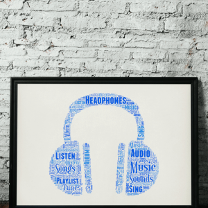 Personalised Headphones Word Art Print