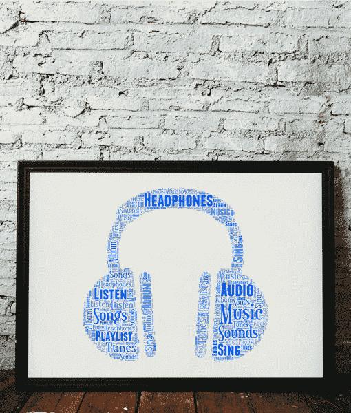 Music Personalised Headphones Word Art Print