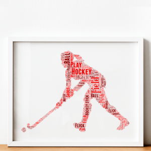 Sport Female Hockey Player Word Art