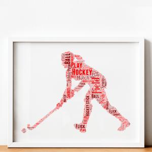 Female Hockey Player Word Art