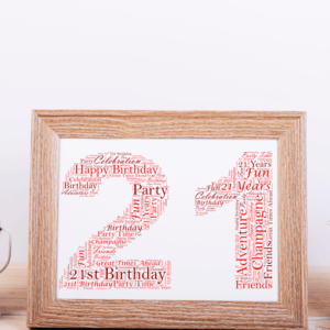 21st Birthday Word Art Gift