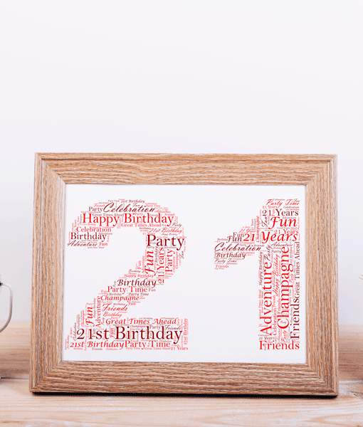 21st Birthday Word Art Gift