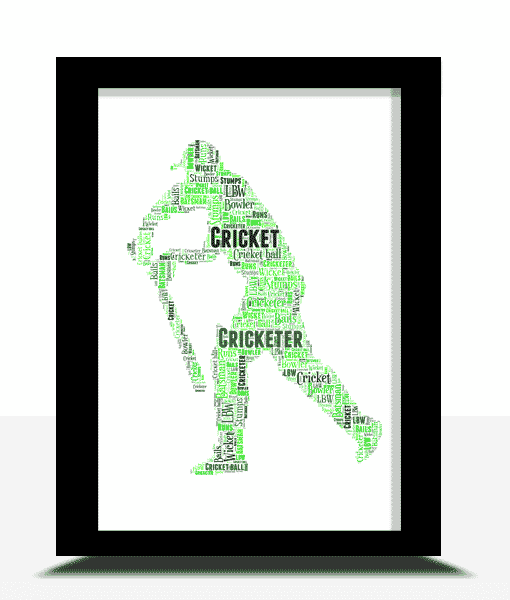 Sport Personalised Cricket Player Word Art
