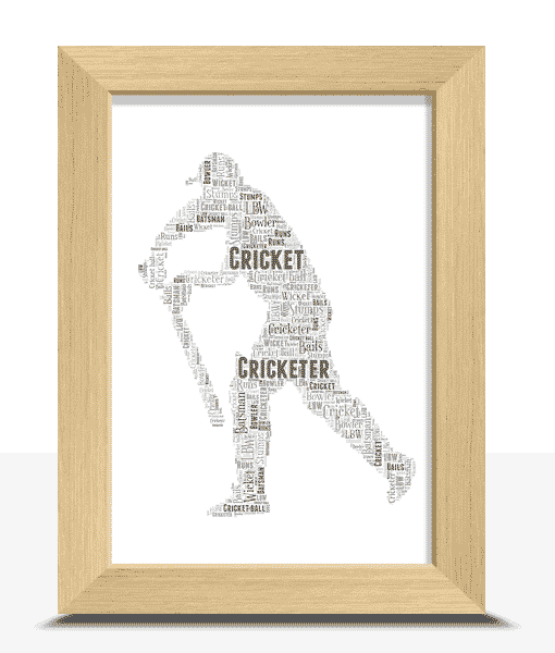 Personalised Cricket Player Word Art Gift Sport Gifts