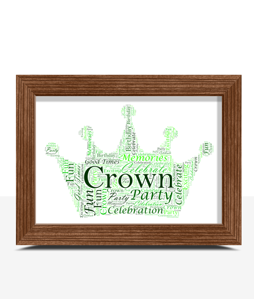 Baby Shower Gifts Personalised Crown Word Art