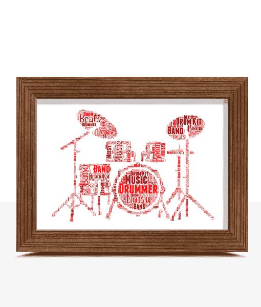 Personalised Drum Kit Word Art