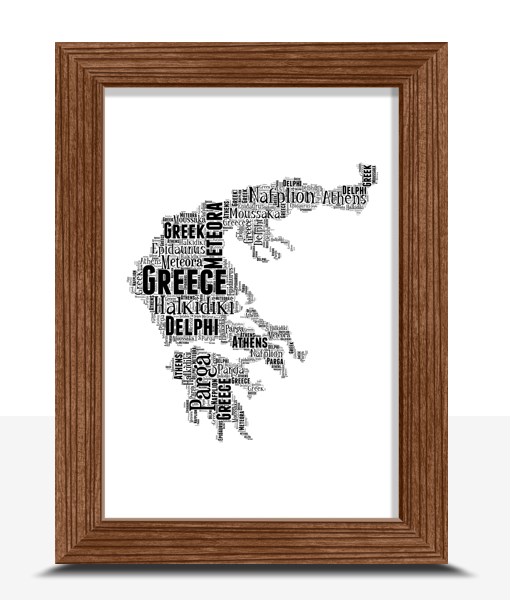 Travel Personalised Greece Mainland Word Art Map