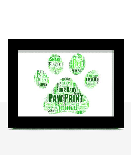 Animal Prints Personalised Animal Paw Print Word Art