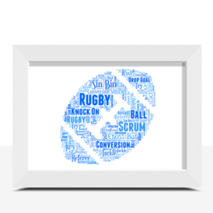 Personalised Rugby Ball Word Art – Rugby Player Gift