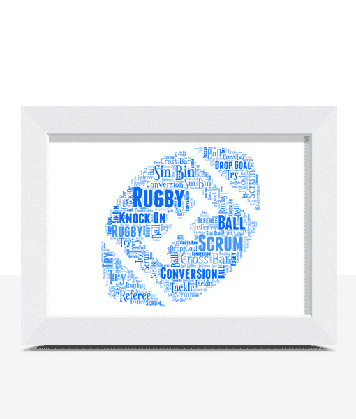 Rugby Ball Word Art gift picture