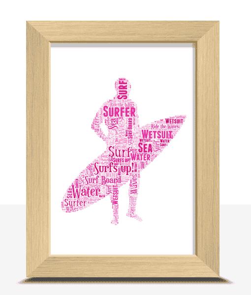 Sport Personalised Surfer Word Art