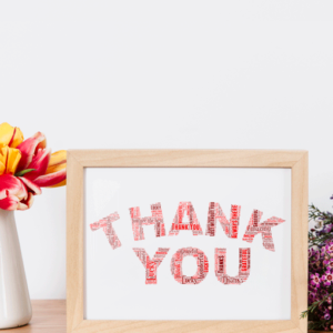 Thank You Gifts Personalised THANK YOU Word Art Gift
