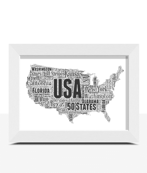 Travel Personalised USA Word Art Map