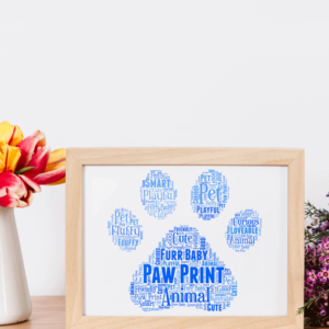 Animal Prints Personalised Animal Paw Print Word Art