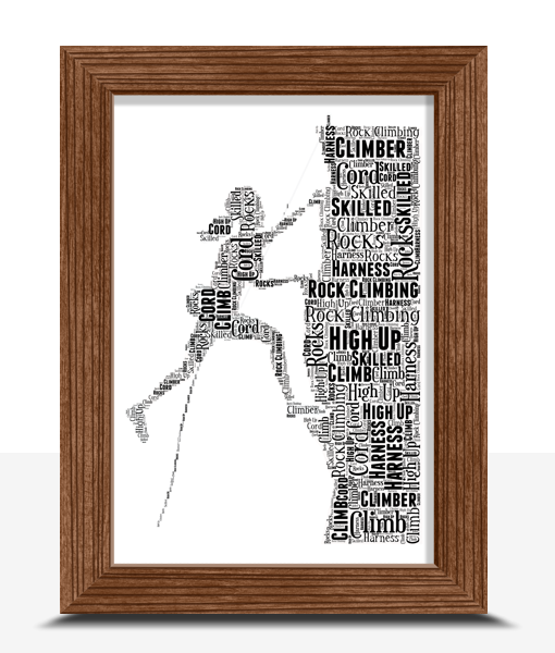 Sport Female Rock Climber Word Art