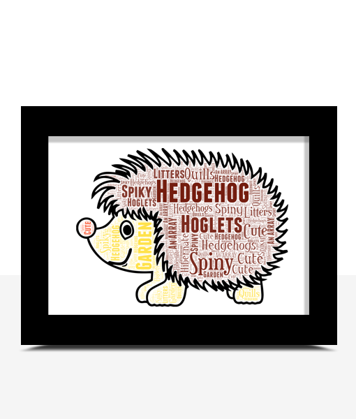 Animal Prints Hedgehog Word Art