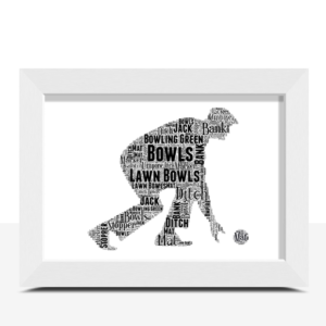 Male Bowls Player Word Art Gift Print