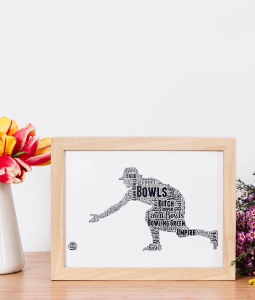 Lady Bowls Player Word Art Gift Birthday Gifts