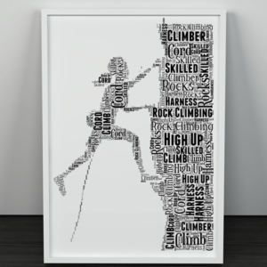 Female Rock Climber Word Art