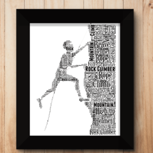 Male Rock Climber Word Art