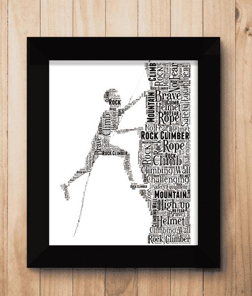 Sport Male Rock Climber Word Art