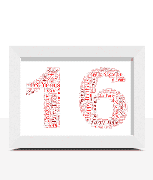 Birthday Gifts Personalised 16th Birthday Word Art Gift