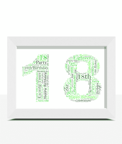 Birthday Gifts 18th Birthday Word Art Gift