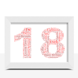 18th Birthday Word Art Gift