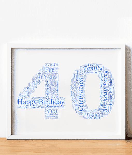 40th Birthday – Anniversary Word Art Gift