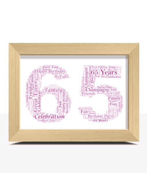Birthday Gifts Personalised 65th Birthday Word Art Gift