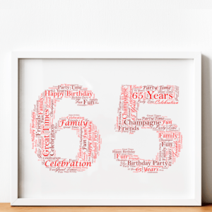 Personalised 65th Birthday Word Art Gift