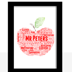 Apple Word Art | Personalised Teacher Gift
