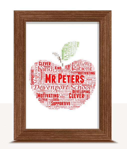 Food And Drink Apple Word Art | Personalised Teacher Gift