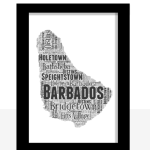 Personalised Barbados Word Art Map