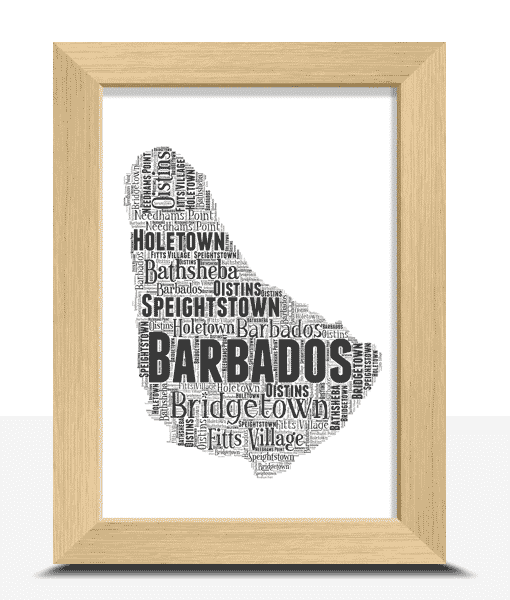 Travel Personalised Barbados Word Art Map