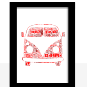 Travel Personalised Campervan Word Art Print