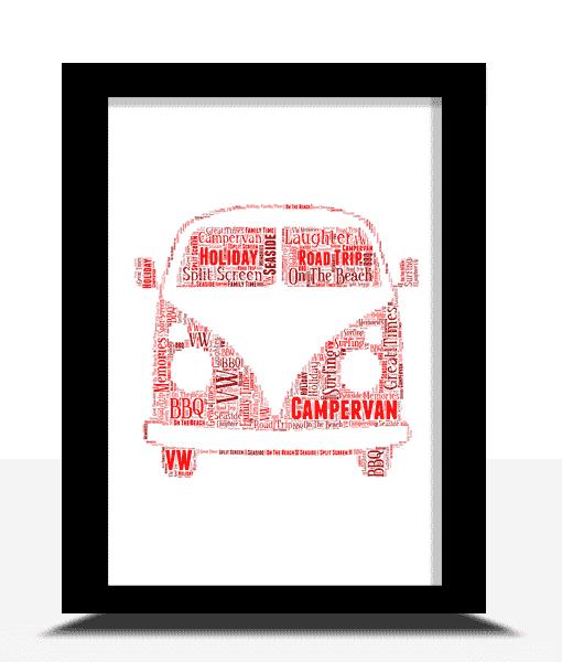 Travel Personalised Campervan Word Art Print