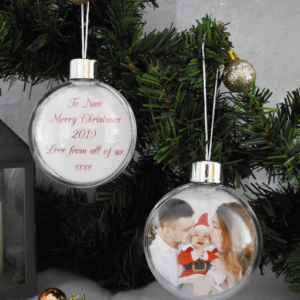 Christmas Photo Bauble With Personalised Message