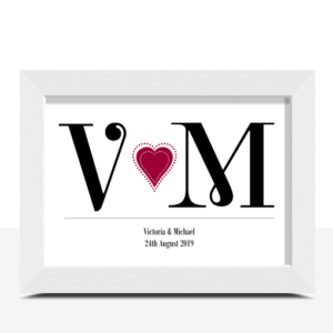 Anniversary Gifts Personalised Couples Initials Print