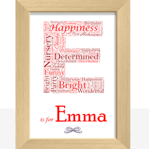 Baby Shower Gifts Personalised Letter – Name Initial Word Art Print