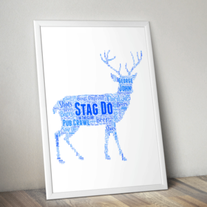 Animal Prints Personalised Stag Night Word Art Gift