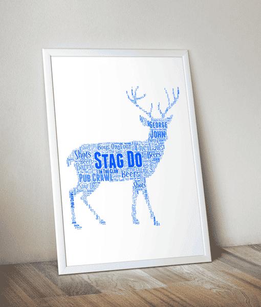 Animal Prints Personalised Stag Night Word Art Gift