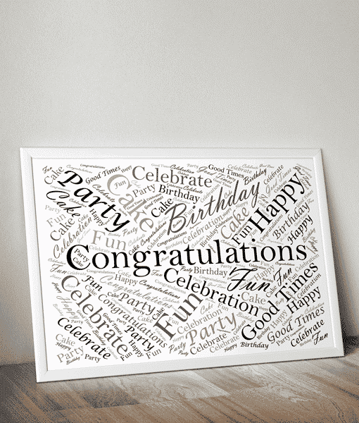 Rectangle Shaped Personalised Word Art