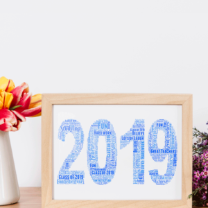 Anniversary Gifts Personalised 2019 Word Art Print