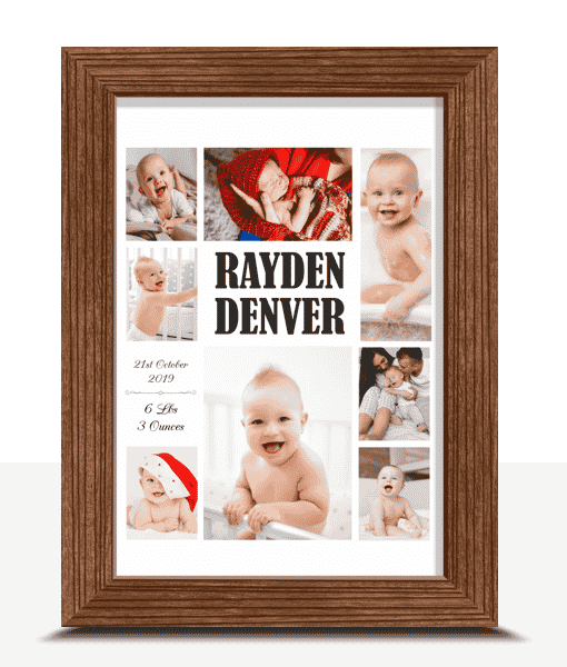 Personalised Baby Montage Photo Print Baby Shower Gifts