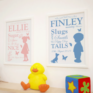 Childs Name Meaning – Personalised Nursery Print