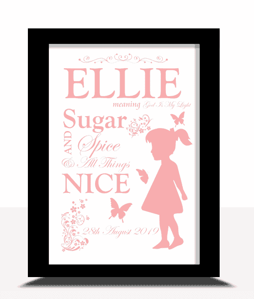 Baby Shower Gifts Childs Name Meaning – Personalised Nursery Print